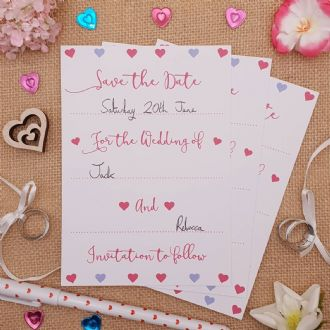 Save the Date Wedding Invitations & Envelopes - 1 Pack of 8 - Romantic Hearts Collection